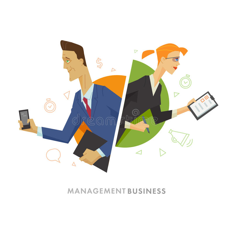 Illustratie van het bedrijfs de mannelijke en vrouwelijke gebruikerssymbool vector illustratie