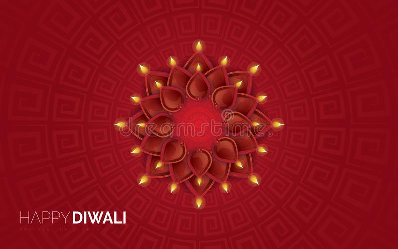 Illustratie van het branden diya op Gelukkige Diwali-Vakantieachtergrond royalty-vrije illustratie