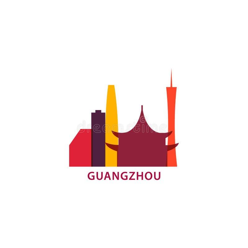 Illustratie van het de horizon vectorembleem van de Guangzhoustad de koele stock illustratie