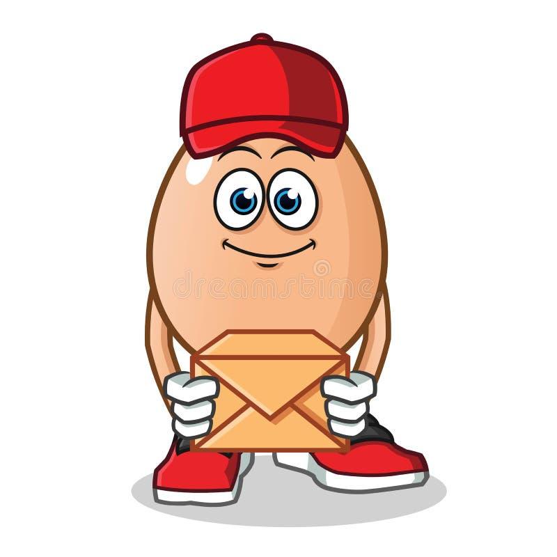Illustratie van het de mascotte de vectorbeeldverhaal van de eibrievenbesteller vector illustratie