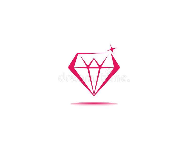 Illustratie van het de ontwerpsjabloon de vectorpictogram van het diamantembleem royalty-vrije illustratie