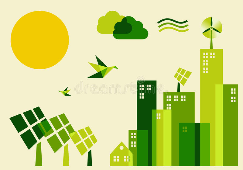 Illustratie van het de ontwikkelingsconcept van de stad de duurzame stock illustratie