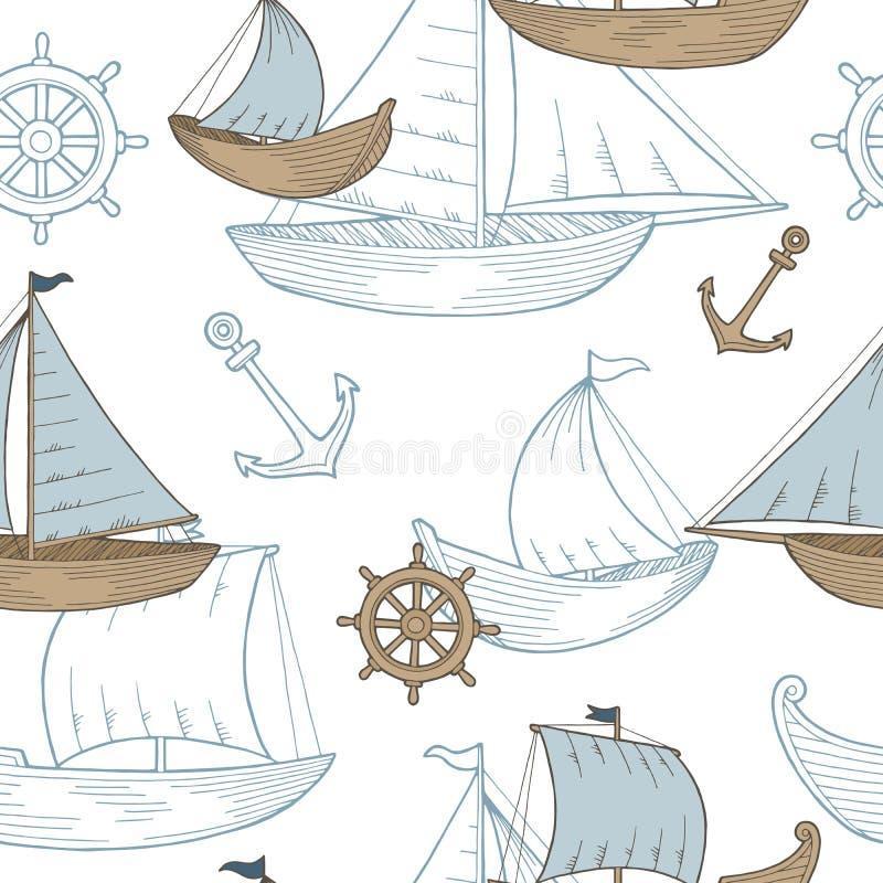Illustratie van het de schets naadloze patroon van de boot de grafische blauwe bruine kleur stock illustratie