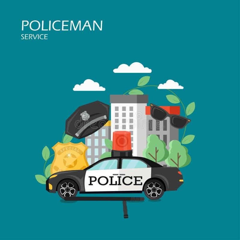 Illustratie van het de stijlontwerp van de politieagentdienst de vector vlakke royalty-vrije illustratie
