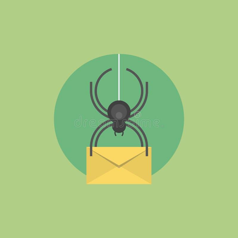 Illustratie van het e-mailvirus de vlakke pictogram stock illustratie