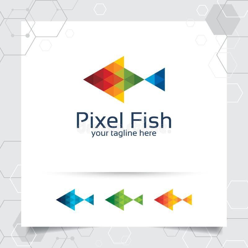 Illustratie van het het embleem de vectorontwerp van de vissenmascotte met kleurrijk driehoek en pixelconcept de vector van het v royalty-vrije illustratie