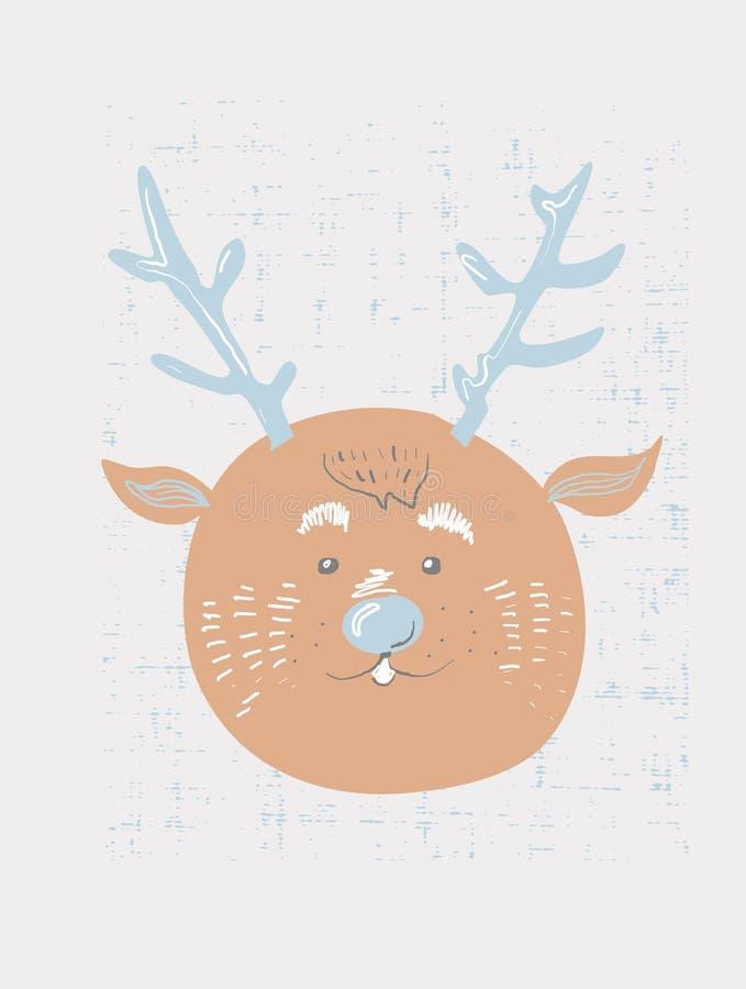 Illustratie van het herten de vectorbeeldverhaal Leuk dierlijk afficheontwerp voor groetkaart, t-shirt, uitnodiging, babydouche royalty-vrije illustratie