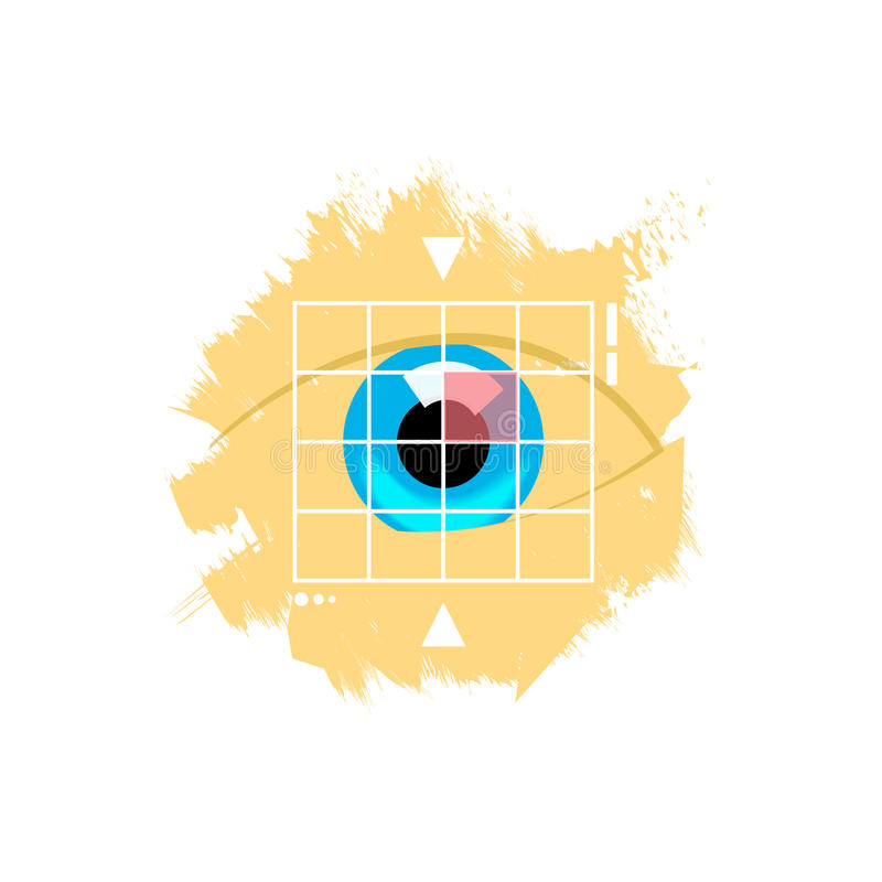 Illustratie van het het aftasten de vectorembleem van de oogretina, het aftastenconcept van de controleidentiteit stock illustratie