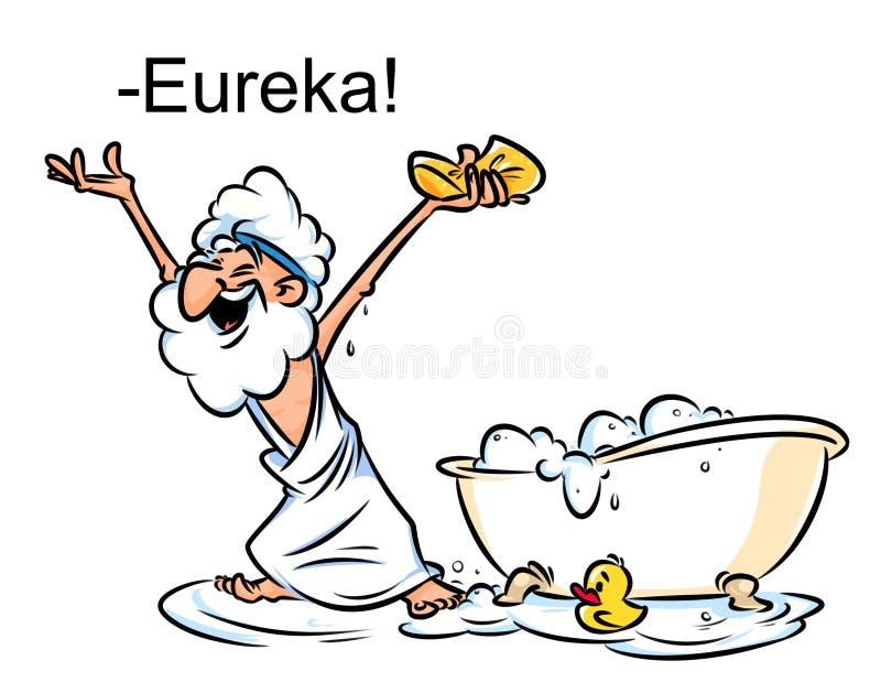 Illustratie van het het badbeeldverhaal van Archimedes Eureka de zwemmende stock illustratie