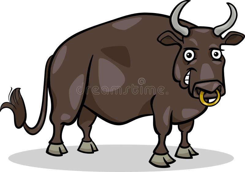 Illustratie van het het landbouwbedrijf de dierlijke beeldverhaal van de stier vector illustratie
