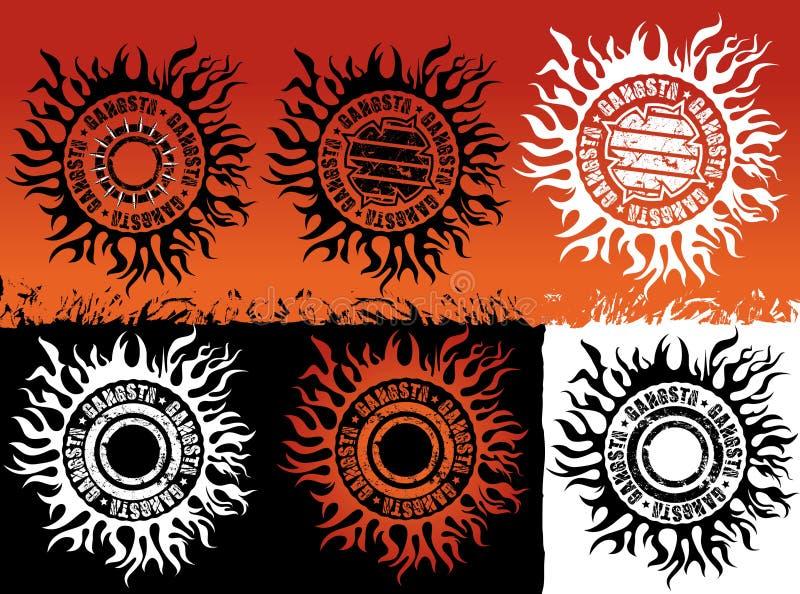 Illustratie van het het ontwerpkenteken van de Gangsta grungy straat stedelijke vector illustratie