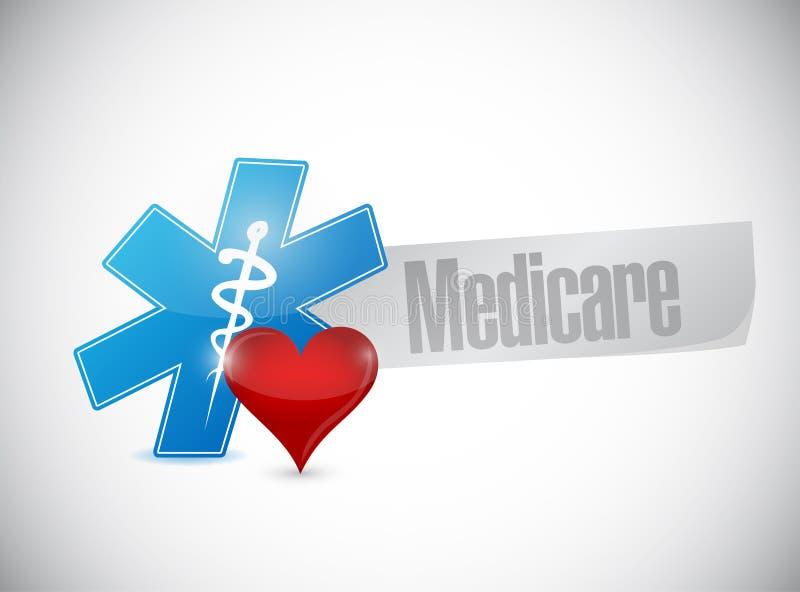 Illustratie van het het symboolteken van gezondheidszorg voor bejaarden de medische vector illustratie
