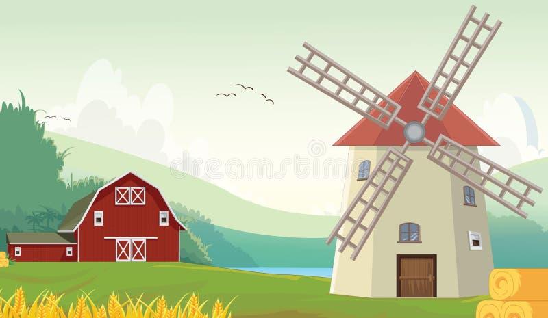Illustratie van het landbouwbedrijfschuur van het Bergplatteland met windmolen royalty-vrije illustratie