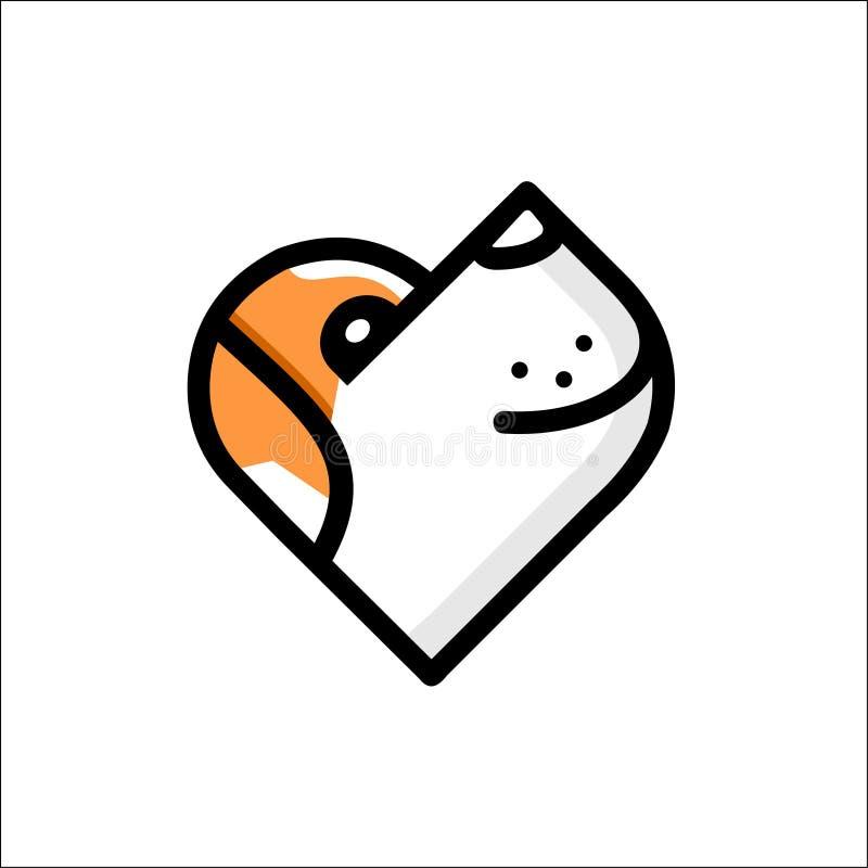 Illustratie van het lichte embleem van de lijn leuke hond op witte achtergrond royalty-vrije illustratie