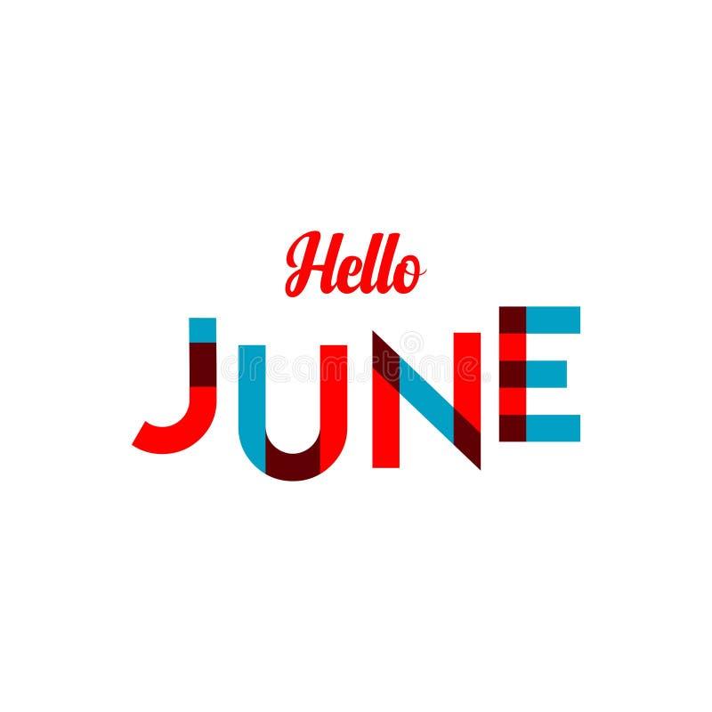 Illustratie van het het Malplaatjeontwerp van Hello Juni de Vector royalty-vrije illustratie