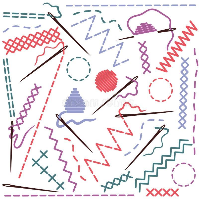 Illustratie van het naaien van apparatuur stock illustratie