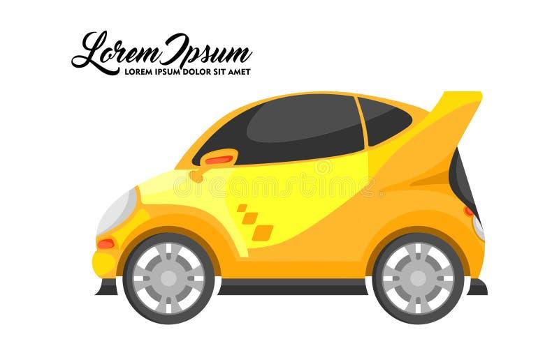 Illustratie van het Ontwerp van de Stadsauto, Gele Reeks vector illustratie