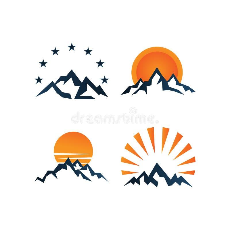 Illustratie van het ontwerpmalplaatje van het bergembleem stock illustratie