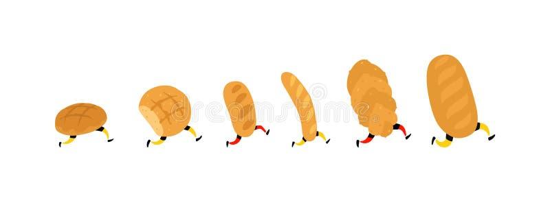 Illustratie van het runnen van brood Vector Broodjes, brood en baguette Pictogrammen voor de plaats op een witte achtergrond Teke stock illustratie