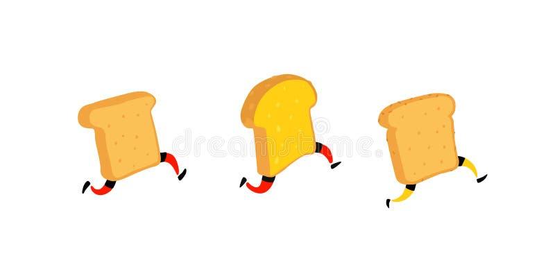 Illustratie van het runnen van broodroosters Lopende stukken van brood zonder boter en jam Vector Gebraden gerechtkarakters met b vector illustratie
