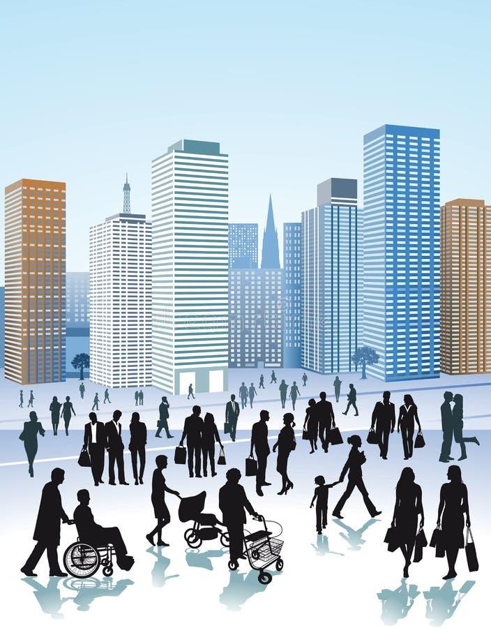 Illustratie van het stadsleven stock fotografie