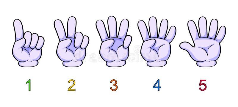 Illustratie van het tellen van hand voor jonge geitjes Tellende vingers van één tot vijf ??n, twee, drie, vier, vijf stock illustratie