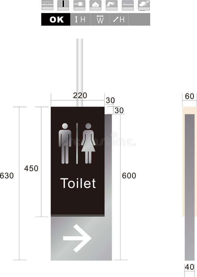 Illustratie van het toilet de mannelijke en vrouwelijke teken stock foto's