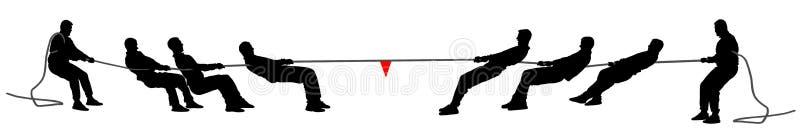 Illustratie van het touwtrekwedstrijd de vectordiesilhouet op witte achtergrond wordt geïsoleerd De openluchtsportconcurrentie De royalty-vrije illustratie