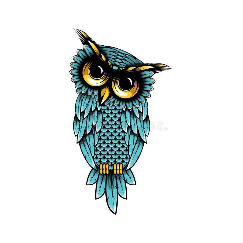 Illustratie van het uil de vectorontwerp, het ontwerpillustratie van de Uilt-shirt - het ontwerpinspiratie van het Uilembleem royalty-vrije illustratie