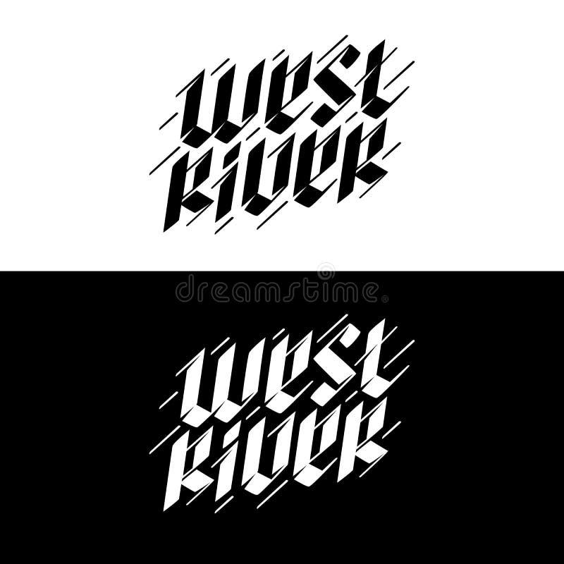 Illustratie van het van letters voorzien, de westelijke rivier vector illustratie
