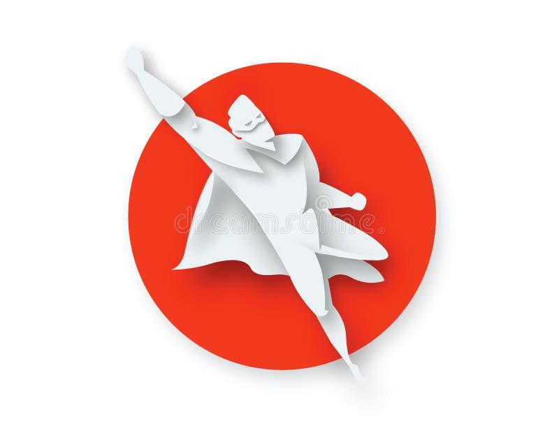 Illustratie van het vliegen superhero, bedrijfsmachtspictogram vector illustratie