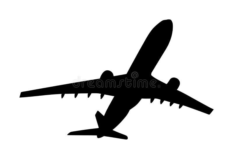 Illustratie van het vliegtuig de vectordiesilhouet op witte achtergrond wordt geïsoleerd De luchthavensymbool van jetbladeren De  vector illustratie