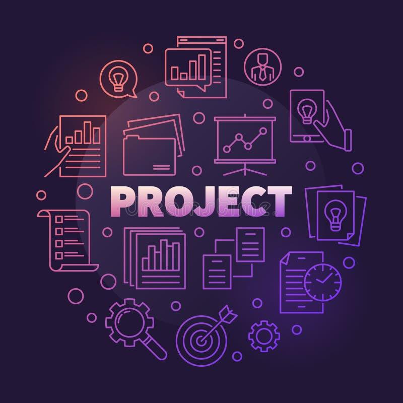 Illustratie van het zakelijk project de vector ronde kleurrijke overzicht royalty-vrije illustratie