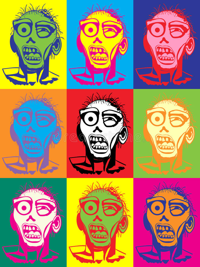 Illustratie van het zombie de vectorpop-art stock illustratie