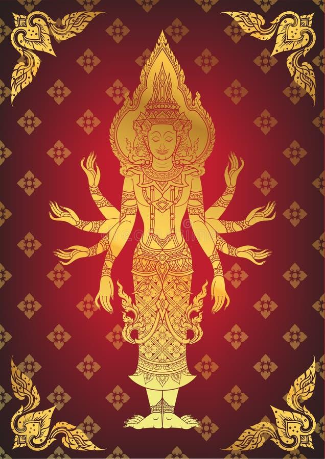 Illustratie van Hindoese God Brahma vector illustratie