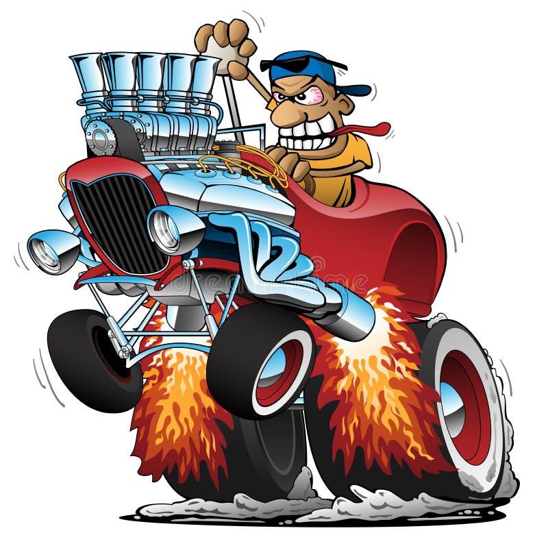 Illustratie van hoge ladenkast de Hete Rod Race Car Cartoon Vector stock illustratie