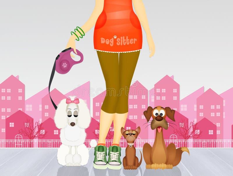 Illustratie van hondbabysitter vector illustratie