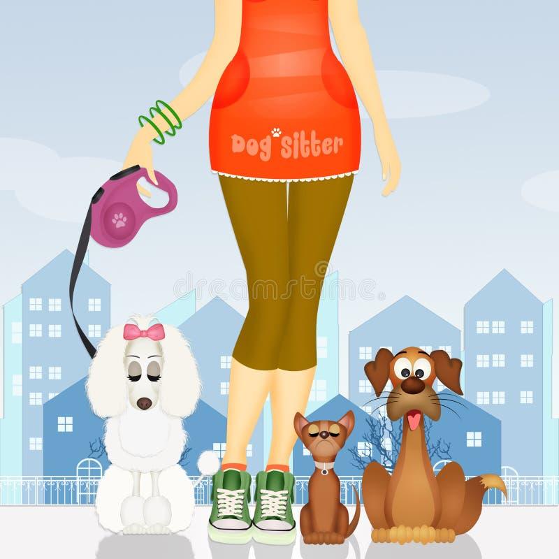 Illustratie van hondbabysitter stock illustratie
