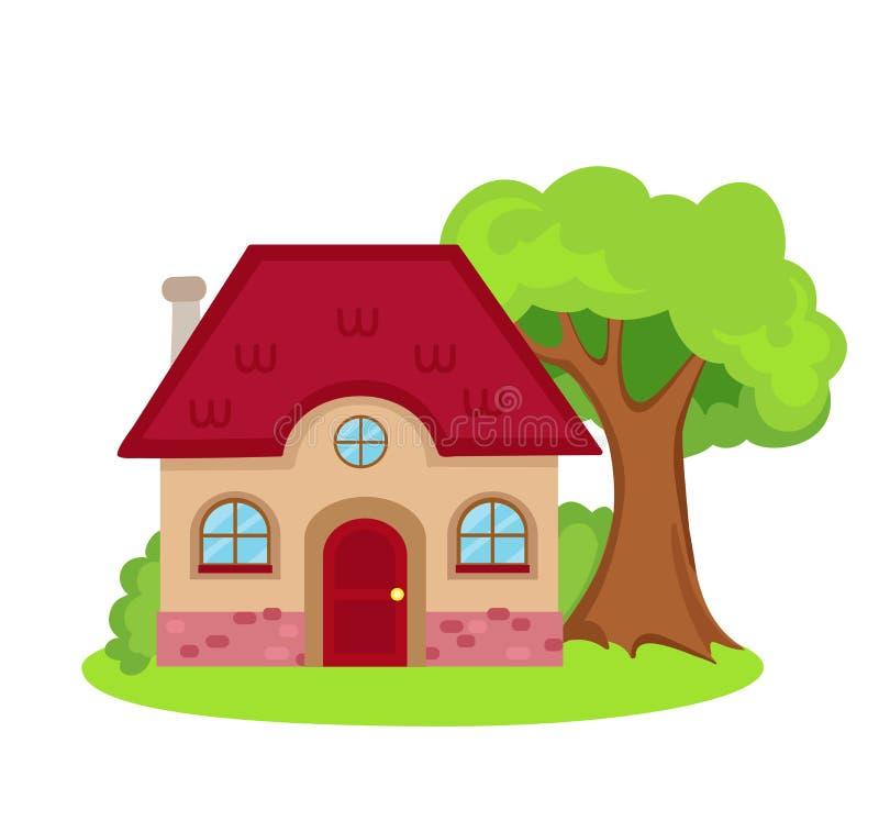 Illustratie van huis op witte achtergrond royalty-vrije illustratie