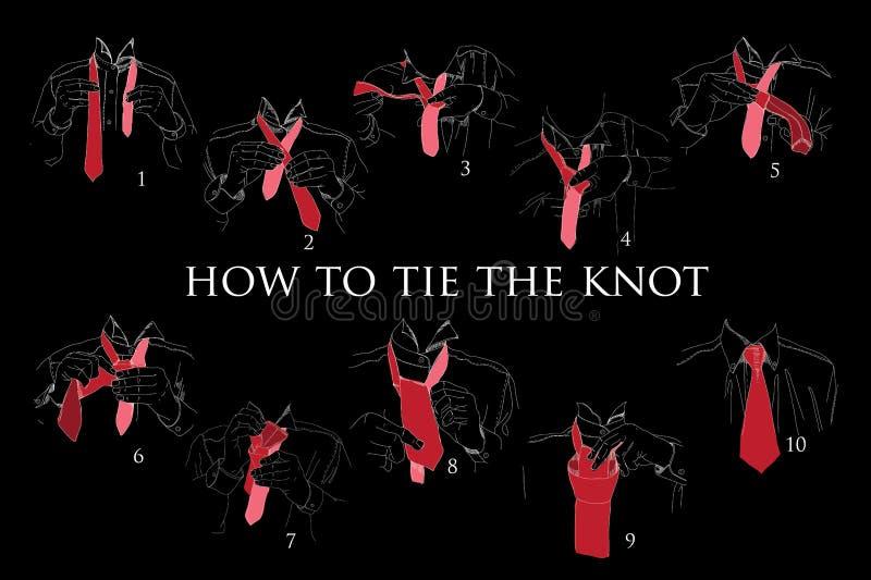 Illustratie van Instructies, Regeling, Brochure voor hoe te om knoop te binden stock illustratie