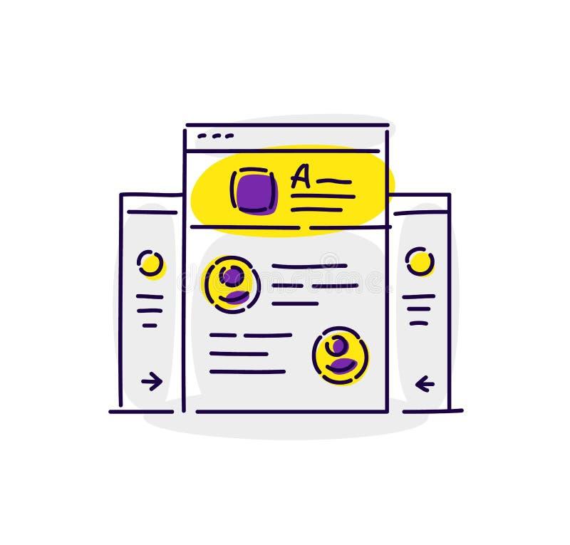 Illustratie van interfaceelementen Tekening op witte achtergrond wordt geïsoleerd die Vector vlakke illustratie Modieus pictogram vector illustratie