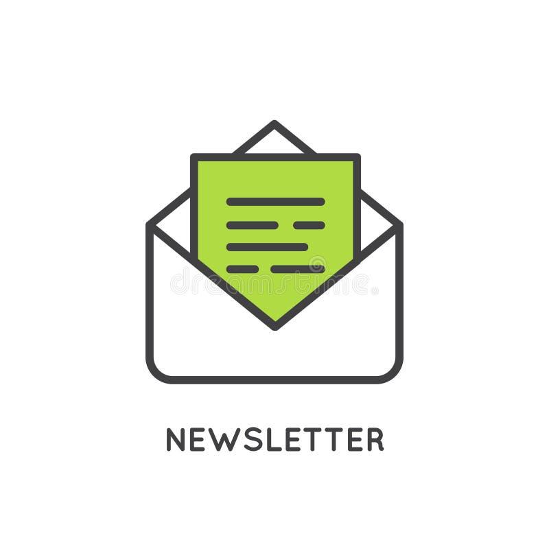 Illustratie van Internet e-mail of Regelmatig Post Marketing en Bevorderingsproces stock illustratie