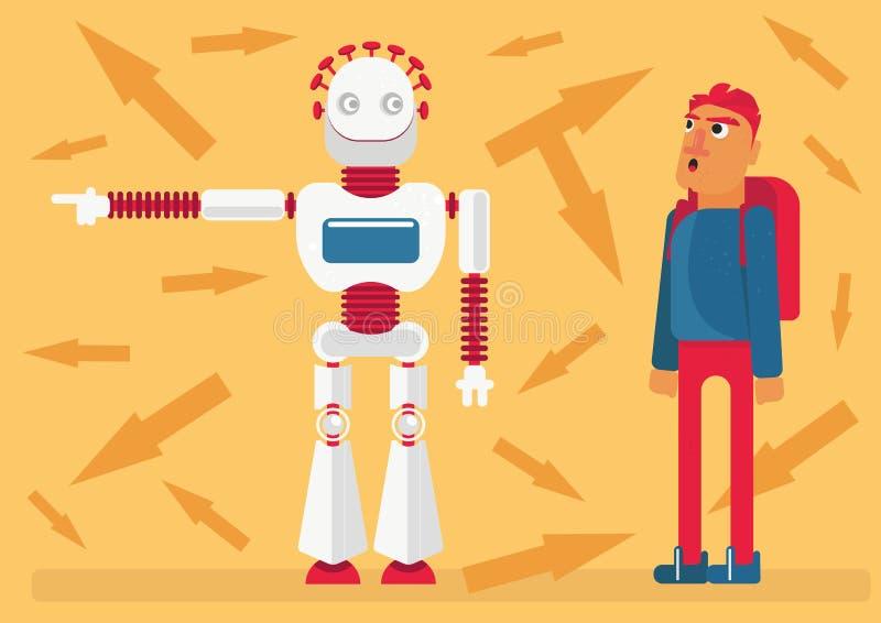 Illustratie van invloed van kunstmatige intelligentie op ons leven, dilemma van impliciet geloof aan technologie stock illustratie