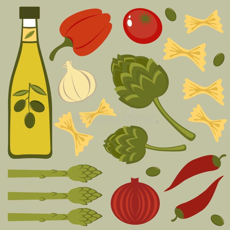 Italiaanse voedselingrediënten royalty-vrije illustratie