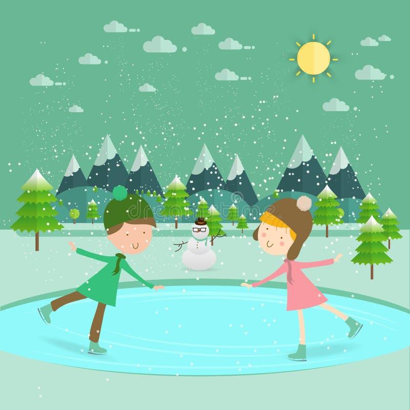 Illustratie van jonge geitjes die pret in de de winter het schaatsen piste/het Kind hebben royalty-vrije illustratie