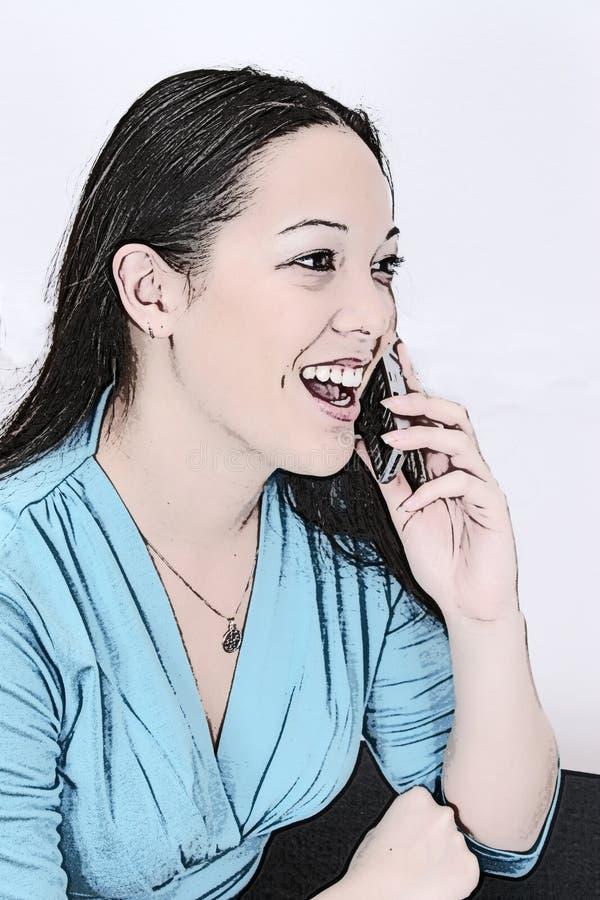 Illustratie Van Jonge Vrouw Op Cellphone Stock Afbeeldingen