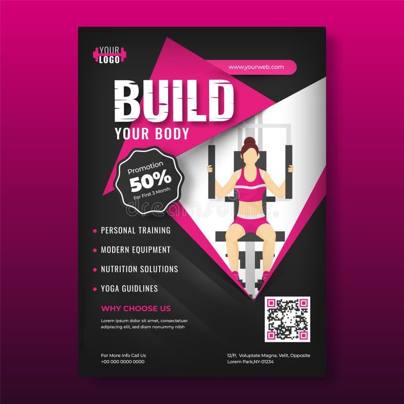Illustratie van jonge vrouwentraining van gymnastiekmachine voor Bouwstijl Uw Lichaam reclamemalplaatje voor het ontwerp van de W stock illustratie