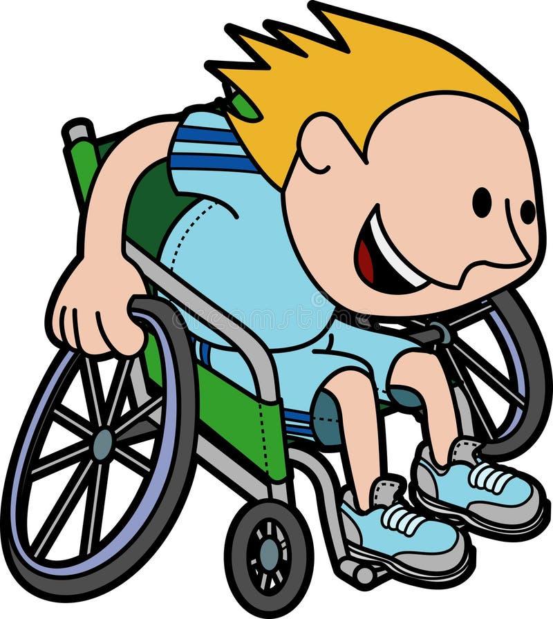 Illustratie van jongen het rennen in rolstoel vector illustratie