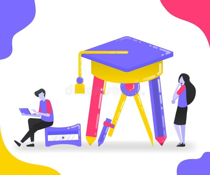 Illustratie van kantoorbehoeften en graduatiehoed Studenten die bestuderen en aandacht aan onderwijs onder kantoorbehoeften beste stock illustratie