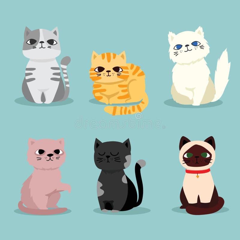 Illustratie van kattenrassen, huisdierreeks stock illustratie